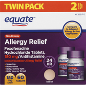 Equate Allergy Relief, Non-Drowsy, 180 mg, Tablets, Twin Pack