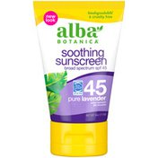 Alba Botanica Pure Lavender Broad Spectrum SPF 45 Soothing Sunscreen Lotion