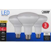 Feit Electric Light Bulbs, LED, Flood-BR30, Daylight, 9.5 Watts, 3 Pack