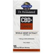 Garden of Life Whole Hemp Extract, CBD + Turmeric, Softgels