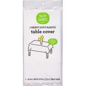 That's Smart! Table Cover, Heavy Duty Plastic, White
