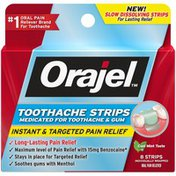 Orajel Toothache Strips - Medicated For Toothache & Gum 8Ct