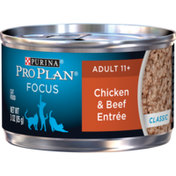 Purina Pro Plan Senior Pate Wet Cat Food, FOCUS Chicken & Beef Entree