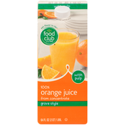 Food Club 100% Grove Style Orange Juice From Concentrate With Pulp