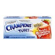 Chobani Low-Fat Greek Yogurt Champions Tubes Swirlin' Strawberry Banana - 8 CT