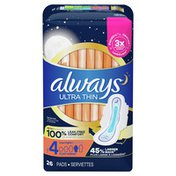 Always Ultra Thin Pads Unscented Size 4 Overnight With Wings