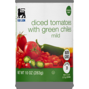 Food Lion Tomatoes, Diced, with Green Chiles, Non GMO, Mild, Can