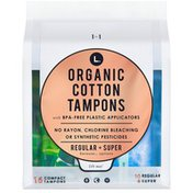 L. Organic Cotton Regular and Super Absorbency Compact Tampons Multipack