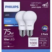 Philips Light Bulbs, LED, Daylight, 10 Watts, 2 Pack