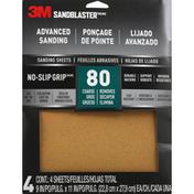 3M Sanding Sheets, Advanced, No-Slip Grip, 80, Coarse Removes