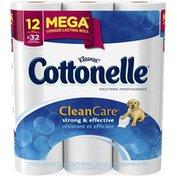 Cottonelle Clean Care 1-Ply Mega Rolls Toilet Paper
