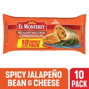 El Monterey Chimichangas, Spicy Jalapeno Bean & Cheese, Medium, Family Pack