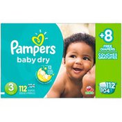 Pampers Baby Dry Pampers Baby Dry Diapers Size 3 Bonus Pack 112 Count  Diapers