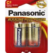 Panasonic Battery, Alkaline, C, 2 Pack
