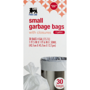 Food Lion Garbage Bags, Small, With Closures