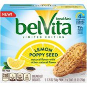 belVita Lemon Poppy Seed Breakfast Biscuits, Limited Edition, 5 Packs (4 Biscuits Per Pack)