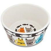 "Harmony Tough Guys Ceramic Cat Bowl 3"" H X 6.25"" Diameter"