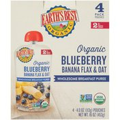 Earth's Best Stage 2 Blueberry Banana Flax & Oat Organic Wholesome Breakfast Puree