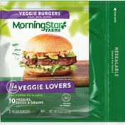 Morning Star Farms Vegan Burgers, Veggie Lovers, 10 Veggies, Seeds, and Grains