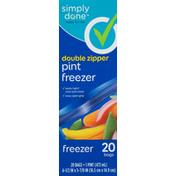 Simply Done Pint Freezer Bags, Double Zipper