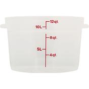 Cambro Food Container, Translucent, Round, 12 Quart