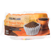 Food Lion Coffee Filters, Basket Style, 8 Inch