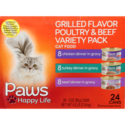 Paws Happy Life Cat Food, Grilled Flavor Poultry & Beef, Variety Pack