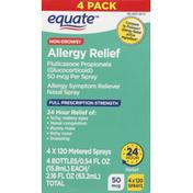 Equate Allergy Relief, Full Prescription Strength, 50 mcg, 4 Pack