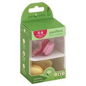 Green Sprouts Pacifiers, Orthodontic Silicone Nipple, 0-6 Months