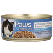 Paws Happy Life Ocean Whitefish & Tuna In Sauce Prime Filets Cat Food