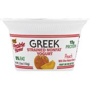 Prairie Farms Yogurt, Greek, Peach, Fruit on the Bottom