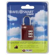 Travel Smart Combination Lock, Inspection Status, Red