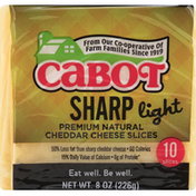 Cabot Cheese Slices, Cheddar, Premium Natural, Sharp, Light