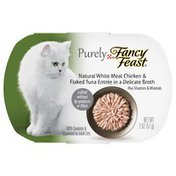 Fancy Feast Natural White Meat Chicken & Flaked Tuna Entree In A Delicate Broth 100% Complete & Balanced For Adult Cats