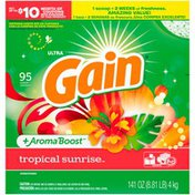 Gain Powder Laundry Detergent for Regular and HE Washers, Tropical Sunrise Scent
