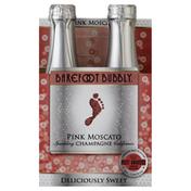 Barefoot Pink Moscato Champagne Sparkling Wine 4 Single Serve Bottles