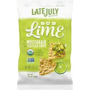 LATE JULY® Snacks Multigrain Organic Multigrain Tortilla Chips Sub Lime