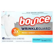 Bounce Wrinkleguard Fabric Softener Dryer Sheets, Unscented