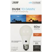 Feit Electric Light Bulb, LED, Soft White, 10.6 Watts, Dusk to Dawn