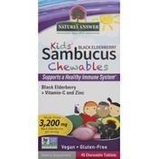 Nature's Answer Sambucus, Chewable Tablets, Black Elderberry, Kids'