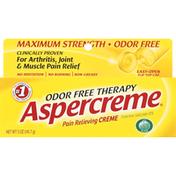 Aspercreme Pain Relieving Cream, Odor Free, Maximum Strength