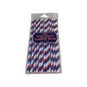 "Amscan 7.75"" Red, White & Blue Stripes Patriotic Paper Straws"
