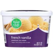 Food Club French Vanilla Elegant, Rich & Creamy Vanilla Premium Ice Cream