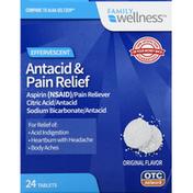 Family Wellness Antacid & Pain Relief, Effervescent, Tablets, Original Flavor