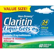 Claritin Indoor & Outdoor Allergies, 24 Hour, 10 mg, Liqui-Gels, Capsules, Value Size