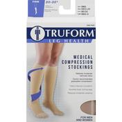 Truform Below Knee Stockings, Medical Compression, Firm, Beige, Medium