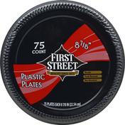 "First Street Black Plastic Plates, 8 7/8"""