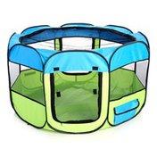 Petzlife All-Terrain Lightweight Easy Folding Wire-Framed Collapsible Travel Dog Playpen - Blue
