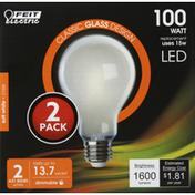 Feit Electric Light Bulbs, LED, Soft White, 15 Watts, 2 Pack