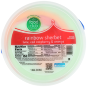 Food Club Rainbow Lime, Red Raspberry & Orange Sherbet